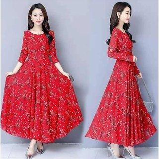 Raabta RWD-01025 Red Flower Print Maxi Dress For Women's
