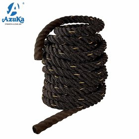AZUKA Ultimate Fitness Strength Training Battle Rope 1.5inch 30ft (Black yellow) + Free Surprise Poster Inside