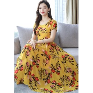 Raabta Fashion RWD-01030 Mustard Printed Maxi Dress For Women