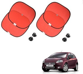 Auto Addict Red Color Chipkoo With Suction Cup Car Window Side Sunshade Curtains Set Of 4 Pcs For Fiat Punto