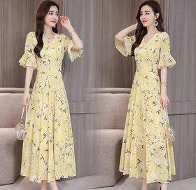 Raabta RWD-01031 Yellow Flower Print Dress