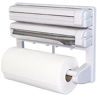 House of Quirk 3 in 1 Kitchen Triple Paper Dispenser  Holder, Multicolor