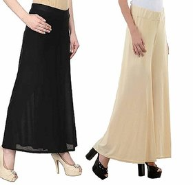 Women's Stretchy Lycra Wide Leg Palazzo Pants Pack of 2 Free Size