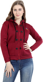 Matelco Womens solid zipper sweatshirt with hoodie attached