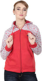Matelco Womens Printed zipper sweatshirt with hoodie attached