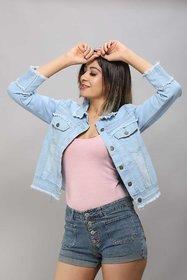 Z.A ENTERPRISES Denim Ruff Look Dark Blue Comfort Fit Regular Collar Jacket for Women