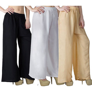 Pack -3 Plain/Solid palazzo pant or trousers with quality