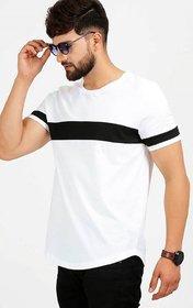 Dimyra Men White Black Color Block Cotton Round Neck Casual T-Shirt NR