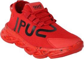 Aadi Men's Red Mesh Running Sport Shoes