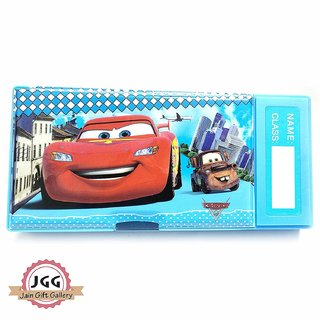 JGG Jain Gift Gallery Plastic  button press Cartoon Printed Double Sided Pencil Box for Girls Boys (multicolors)
