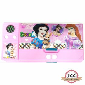 JGG Jain Gift Gallery Plastic Cartoon Printed Double Sided Pencil Box for Girls  (Pink)