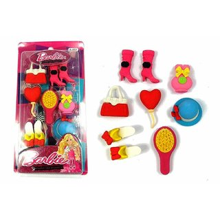 ASU Barbie Make Up Accesories Soft Rubber Erasers for School Going Kids (Multicolour)