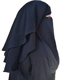 BARAKATH Women's Chiffon 4 Layer Nose Piece Niqab (110035, Black, Free Size