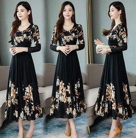 Black Flower Print Dress With Full Sleeve 0101