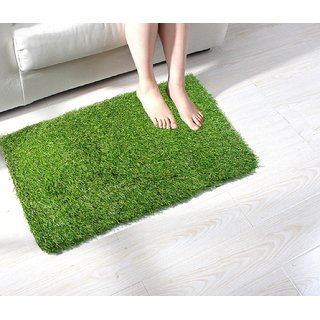 Shakrin Green Polyester Door Mat (60 cm x 40 cm) - Set Of 1