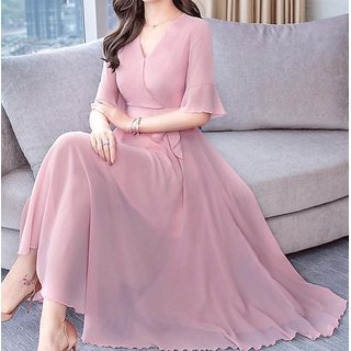Raabta Baby Pink V-Neck Dress With Knotes
