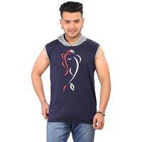 Stylatract Solid Mens Hooded Sleeveless T Shirt