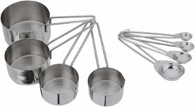 HomeeWare Set of Stainless Steel Measuring Cup and Spoons (Set of 8)