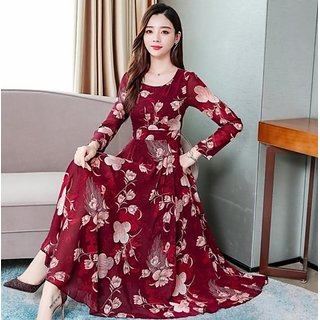 Maroon Printed Maxi Dress For Women by Raabta Fashion