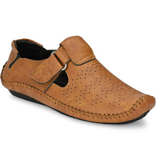 Walkstyle (by EL Paso) Men's Tan Perforated Roman Casual Sandals