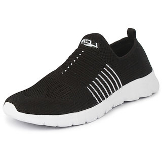 Lancer Men's Black White Sports Walking Shoes