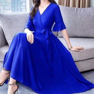 Raabta Royal Blue V-Neck Dress With Knotes