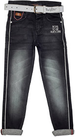Tadpole Boy's Black Solid Pattern Washed Side Stripe Jeans