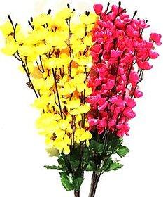 ZEEKO  Yellow, Pink Orchids Artificial Flower  (35.5 inch, Pack of 1)