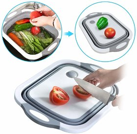 Shopper52 Plastic 3 in 1 Multifunctional Kitchen Foldable Cutting, Chopping Board with Plug, Multicolor