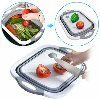 3 in 1 Multifunctional Kitchen Foldable Cutting, Chopping Board with Plug (Multicolour)