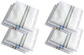 Pack Of 12 Pc Premium Quality Men's  Women's Pure Cotton Hanky / Handkerchief