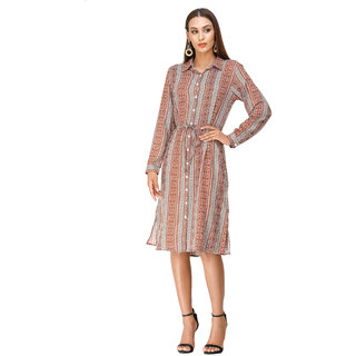 DECHEN Women's Rayon Fabric Cuffed Sleeve Collared Neck Tribal Print Brown Shirt Dress