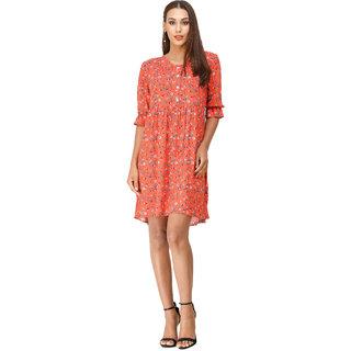 DECHEN Women's Rayon Fabric Cuffed Sleeve Collared Neck Floral Print Orange Shirt Dress