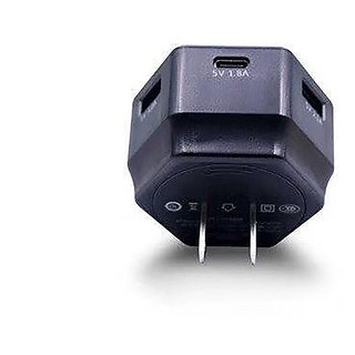Raptech 2.0 AMP Travel Adapter India Standard Adapter Compatible With All Android Mobile Charger, Smart Charger (BLACK)