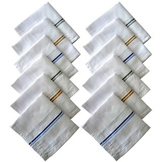 Pack Of 12 Pc Premium Quality Men's  Women's Pure Cotton Hanky / Handkerchief