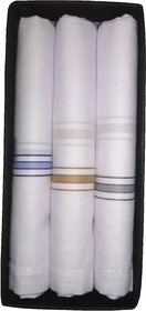 Utkarsh (Set Of 3) Pcs Men's/ Boy's Pure Cotton White Color With Border Hankies