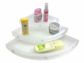 UnBreakable Premium Quality Crystal Clear Corner Set Plastic Bathroom Corner Shelves (Pack of 3, Clear)