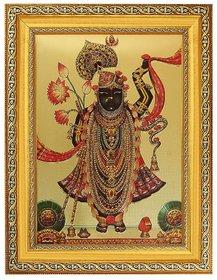Elegant Golden Foil Photo of Shreenathji in Golden Frame (11 X 14 Inch) Religious Wall Decor