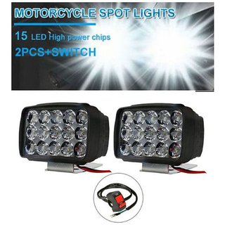 PNP Bike Auto Bike Headlights Fog Lights with Switch For All Motorcycles 15 Led(Free ON/OFF Switch) (Pack of 2)