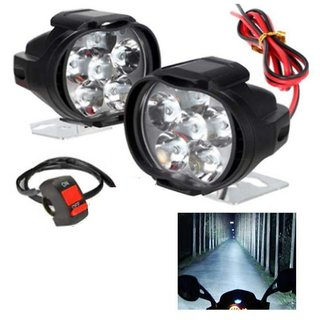 Set Of 2 Auto 6 LED 10W Fog Lights For Two Wheeler (On/Off Switch Free)
