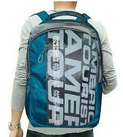 American Tourister Blue And Gray Polyester Laptop Bag/ Backpacks