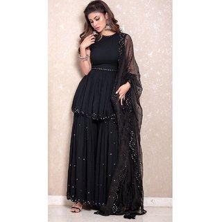 Salwar Soul Mouni Roy Stunning Black Colored Bollywood Sharara Suit