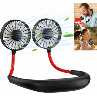 CALICOVILLA Design Wearable Cooler Fan Portable Mini Fan with USB Battery Rechargeable(black)