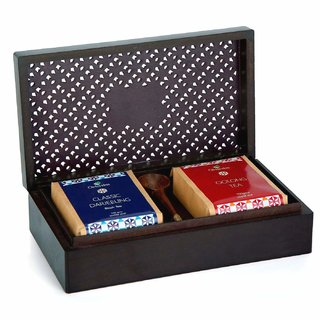 Octavius Assortment of Fine Teas  2 Premium Loose Leaf Teas in Handcrafted Wooden Gift Box + A Wooden Spoon