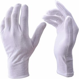 White Gloves, 12 Pairs Soft Cotton Gloves