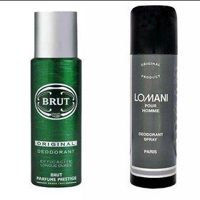 Brut Deodorant Spray and Lomani Deodorant Body Spray (200 ml + 200 ml)