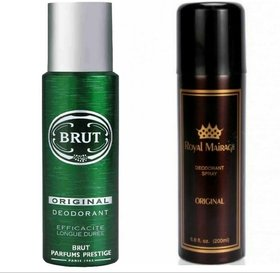 Brut Deodorant Spray and Royal Mirage Deodorant Body Spray (200 ml + 200 ml)
