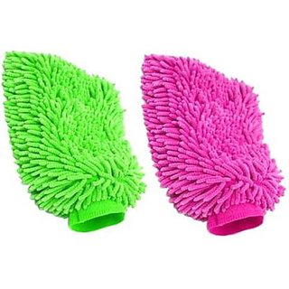 Double Sided Microfiber Hand Gloves Car Window Washing Kitchen Dust Cleaning Glove Assorted Colors (Pack of 2Pcs)