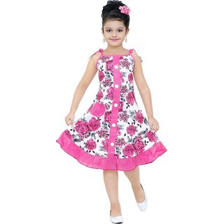 Printed Pink Cotton frock for Girls