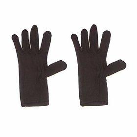 Ramanta Unisex Cotton 2 Piece Brown Hand Gloves Set, 1 Pair
